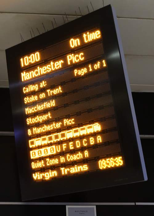 Virgin Trains at Euston have a system and a process that uses a visual indication of the availability of unbooked seats on their trains that is shown on the departure boards.